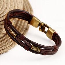 Men Genuine Leather Bracelet Stainless Steel Anchor Nautical Bangle Wristband