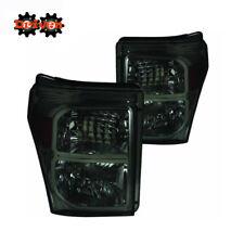 11-16 Ford F250 F350 Super Duty Smoked Tinted Headlights w/Amber Reflector ADM