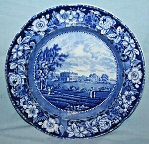 "1820's Historical Staffordshire 10"" Blue Transfer Plate Culford Hall Suffolk"