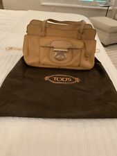 TOD'S HANDBAG,  Tan Colored Pebbled Leather with Gold Hardware; Orig $800