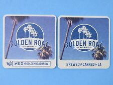 2 Beer Coasters ~ GOLDEN ROAD Brewing > Brewed & Canned in LA ~ Los Angeles, CA
