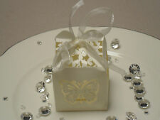 SALE100 Wedding Bomboniere Favour Laser Cut Tealight Holder Butterfly Box IVORY