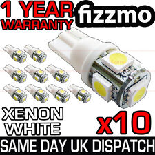 10x 501 T10 W5W PUSH WEDGE 5 SMD LED 360 DEG XENON WHITE SIDE LIGHT BULBS UK