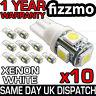 10x 501 T10 W5W PUSH WEDGE 5 SMD LED 360 DEG XENON WHITE SIDE LIGHT BULBS UK