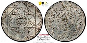 Morocco Silver AH1314(1896) 2-1/2 Dirhams Paris PCGS UNC DETAILS Lec-140,Y# 11.2