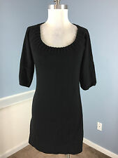 Ann Taylor Black Sweater Dress S P Career Cocktail Excellent Wool Blend stretch