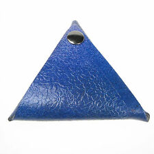 Royal Blue Flower Pattern Design Real Leather Triangle Double Sided Coin Purse
