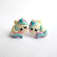 Handmade fimo FIMO Emo Rainbow Divertente Simpatico Unicorno Cavallo Orecchini Jewelry