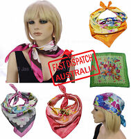 Soft Silky Silk Square Scarf Chemo Head Cover Wrap Chain Floral Flower Print