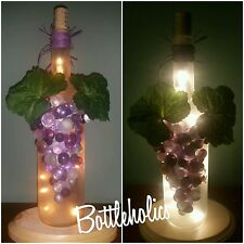 Lighted wine bottle, purple, night light, grapes, glitter