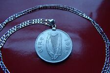 """Antique Gaelic 1969 Irish Pence Pendant on a 30"""" .925 Sterling Silver Chain"""