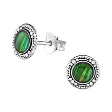 925 Sterling silver stud earrings with Green Abalone shell, antique, oxidized