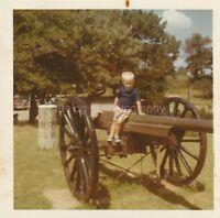 CANNON BOY Kid FOUND PHOTO Color FREE SHIPPING Original Snapshot VINTAGE 810 35