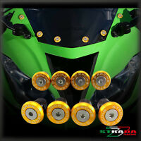 Strada 7 Racing CNC Windscreen Bolts M5 Wellnuts Set Kawasaki ZXR400 Gold