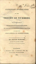 MATHEMATICS BARLOW 1811 THEORY OF NUMBERS ALGEBRA PRIME PERFECT DIOPHANTINE