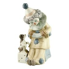 "Lladro #5279 ""Pierrot with Concertina"" Clown Playing Accordion for Puppy Retired"