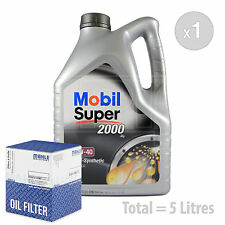 Engine Oil and Filter Service Kit 5 LITRES Mobil Super 2000 X1 10w-40 5L