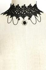 NEW..Stunning Glam Black Crochet Gatsby Flapper Choker Necklace with Dangles