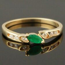 Solid 14K Yellow Gold, Emerald Solitaire & Diamond Estate Ring