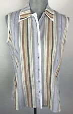 Blue Willi's SZ M Med Crinkle Striped Sleeveless Beige Blouse Top NWT Button