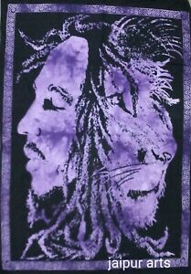 Purple Color Home Decor Lion Face Bob Marley Hippie Wall Hanging Tapestry Poster