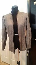 NEW Size 10 Wool Kasper A.S.L Chevron Print Blazer w/Zipper and Leather Trim