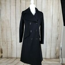 NWT Michael Kors Black Wool Blend Double Breasted Coat Size XS
