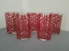 Vintage Red Lace-like Embossed Drinking Glasses ~ Spain