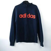 Vintage Adidas navy zip men's sweatshirt with big orange / red logo