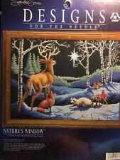 Counted Cross Stitch Kit Natures Window Deer Fox Cardinal Raccoon Silent Night
