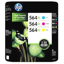 3 Pack Genuine HP564xl Color Set Cyan Magenta Yellow Ink Cartridges HP 564XL