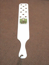 """24"""" Homemade Enforcer White Lexan Novelty Paddle w/ Holes & Leather Hang Strap"""