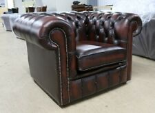 CHESTERFIELD LOW BACK TUFTED BUTTONED CLUB CHAIR VINTAGE RUST LEATHER