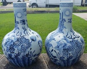 Pair of Mid 20th Century Chinese Jingdezhen Porcelain Two Dragons Bottle Vases