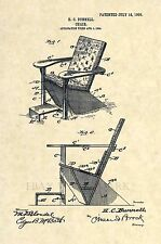 Official Adirondack Chair US Patent Art Print - Vintage Antique Country 206