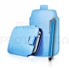 Quality Slim Line Leather Pull Tab Flip Case Cover & Stylus for Various Phones
