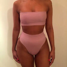 Women Bandeau Bandage Swimwear Bikini High Waist Two piece Swimsuit Bathing Suit