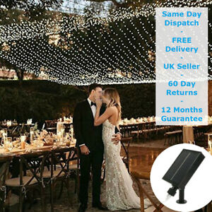 Wedding Fairy Lights Party Decoration Solar Powered LED NET MESH Outdoor Indoor