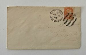 1880s? 3c Red Fancy Cancel Montreal to Litchfield Connecticut