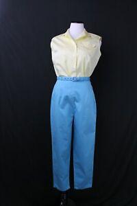 "VTG 1950s Cigarette Pants & Blouse Set Summer B39"" W28"" High Waist Retro"