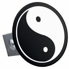"Yin Yang Black and White Stainless Steel 1.25"" Trailer Tow Hitch Cover"