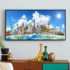 World Map Unframed Poster Scenery Wall Canvas Silk Bar Pub Home Office Decor A8
