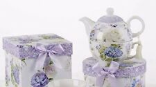 Tea For One Set With Hat Style Gift Box Purple Hydrangea and White Rose Delton