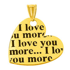 14K Yellow Gold Heart Charm with I love you more… Script Pendant