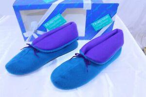 Dearfoams Women's Bootie Slippers Size XL 9.5 - 10.5 Teal / Purple Color