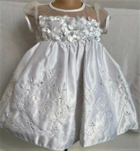 White Petals Christening Flower Girl Bridesmaid Xmas Easter Eid Party Dress 0-24