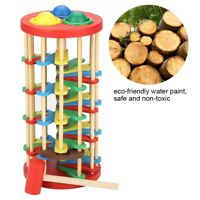 1Pc Colorful Knock The Ball Falls Ladder Toys Wooden Pound and Roll Ladder Toy