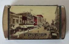 SIOUX CITY IOWA ANTIQUE SOUVENIR MATCH SAFE VESTA, NEW AUDITORIUM/FOURTH STREET