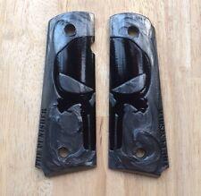 10 Set Black Skull On Black Resin grips for COLT KIMBER 1911 1991 Full size