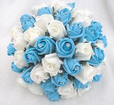 Brides Posy Bouquet, Turquoise And Ivory Roses, Artificial Wedding Flowers